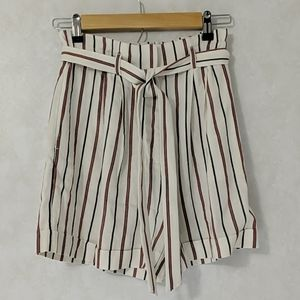 H&M Paper Boy Style Striped Linen Blend Shorts